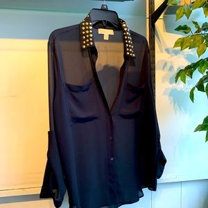 MK Sheer Blouse with Gold accent collar